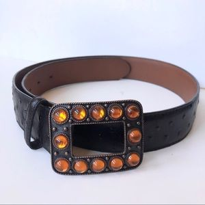 Top Grain Leather Ostrich Embossed Copper Buckle